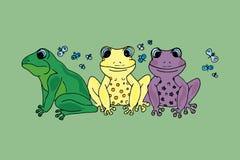 Иллюстрация красочной лягушки с бабочками Стоковое Изображение
