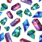 Иллюстрация кристаллов диаманта - безшовная картина акварели Иллюстрация вектора