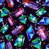Иллюстрация кристаллов диаманта - безшовная картина акварели Бесплатная Иллюстрация