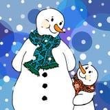 Иллюстрация Кристмас Снеговики в шарфах, взрослых и детях небо klaus santa заморозка рождества карточки мешка иллюстрация вектора