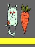 Иллюстрация кролика и моркови Стоковые Фото
