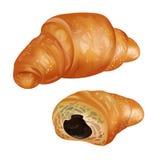 Иллюстрация круассана Реалистический круассан bakersfield зацепляет икону белизна изолированная предпосылкой иллюстрация штока