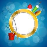 Иллюстрация круга рамки желтого зеленого цвета ложки поплавка сети рыб ведра рыболовной удочки предпосылки абстрактная голубая бе Стоковые Фотографии RF