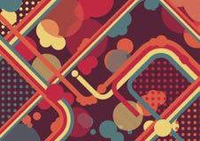 Иллюстрация, круги и точки абстрактной волны красочная Стоковые Фотографии RF