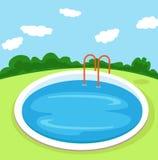 Иллюстрация круглого бассейна в дворе Стоковое фото RF