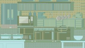 Иллюстрация кухни плоская Стоковое Изображение RF
