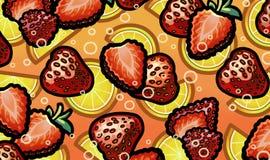 Иллюстрация клубники в свежем сверкная лимонаде Стоковая Фотография