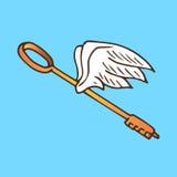 Иллюстрация ключа с крылами Золотой ключ с ангелом летания подгоняет год сбора винограда Стоковые Фото