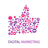 Иллюстрация маркетинга цифров плоская Стоковое Фото