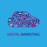 Иллюстрация маркетинга цифров плоская Стоковые Изображения RF