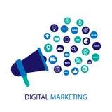 Иллюстрация маркетинга цифров с мегафоном Плоский дизайн Стоковая Фотография