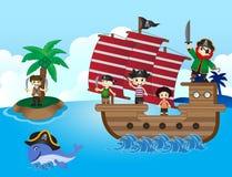 Иллюстрация маленьких пиратов плавает с кораблем Стоковые Изображения