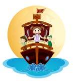 Иллюстрация маленьких пиратов плавает с кораблем Стоковое Изображение RF