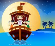Иллюстрация маленьких пиратов плавает с кораблем Стоковые Фотографии RF