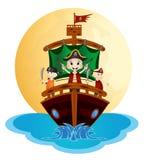 Иллюстрация маленьких пиратов плавает с кораблем Стоковые Изображения RF
