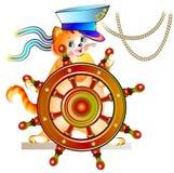 Иллюстрация маленького котенка держа рулевое колесо иллюстрация вектора