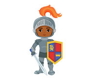Иллюстрация маленького рыцаря с панцырем и шпагой Стоковое Изображение