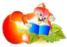 Иллюстрация маленькой лисы читая книгу Стоковые Изображения RF