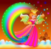 Иллюстрация маленькой феи разбрасывая звезды в небе Стоковое фото RF