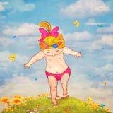 Иллюстрация малой девушки на камне предпринимает меры в траву Стоковые Фото
