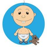 Иллюстрация мальчика анимации милого с игрушкой медведя Стоковые Фото