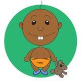 Иллюстрация мальчика анимации милого с игрушкой медведя Стоковые Изображения