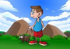 Гулять с собакой Стоковые Фото