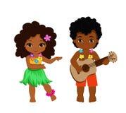Иллюстрация мальчика играя гитару и гаваиские танцы hula девушки иллюстрация вектора