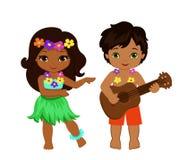 Иллюстрация мальчика играя гитару и гаваиские танцы hula девушки Стоковые Фото