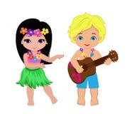 Иллюстрация мальчика играя гитару и гаваиские танцы hula девушки Стоковое Изображение RF