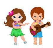 Иллюстрация мальчика играя гитару и гаваиские танцы hula девушки Стоковые Изображения