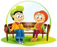 Иллюстрация мальчика и девушки Стоковые Изображения