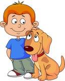 Мальчик и щенок бесплатная иллюстрация