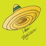 Иллюстрация Мексики Sombrero шляпы Я люблю мексиканца Стоковое Изображение