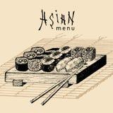 Иллюстрация меню вектора нарисованная рукой азиатская Сделанный эскиз к рукой комплект суш Японская еда, дизайн tableware для рес Стоковое фото RF
