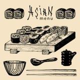 Иллюстрация меню вектора нарисованная рукой азиатская Сделанный эскиз к рукой комплект суш Японская еда, дизайн tableware для рес Стоковые Изображения RF