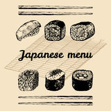 Иллюстрация меню вектора нарисованная рукой азиатская Сделанный эскиз к рукой комплект суш Японская еда, дизайн tableware для рес Стоковая Фотография RF