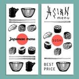 Иллюстрация меню вектора нарисованная рукой азиатская Сделанный эскиз к рукой комплект суш Японская еда, дизайн tableware для рес Стоковое Фото