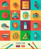 Иллюстрация места для работы школы вектора комплект школы икон образования Плоский стиль, длинные тени Объект средней школы, дета Стоковая Фотография RF