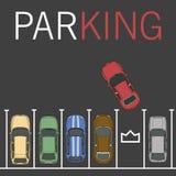 Иллюстрация места для стоянки вектора Автомобиль и транспорт, автоматический парк, пустое взгляд сверху автомобиля рядка Стоковое Изображение