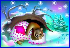 Иллюстрация медведя спать в пещере во время зимы бесплатная иллюстрация