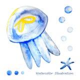 Иллюстрация медуз акварели Стоковое фото RF