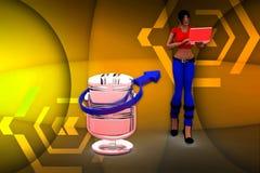 иллюстрация микрофона женщин 3d Стоковое Изображение RF
