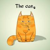 Иллюстрация милого красного усмехаясь кота Стоковые Фото