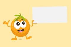 Иллюстрация милого оранжевого талисмана с ярлыком предложения Стоковые Фотографии RF