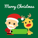 Иллюстрация милого Санта Клауса и северного оленя Стоковые Фотографии RF