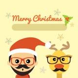 Иллюстрация милого Санта Клауса и северного оленя Стоковая Фотография RF