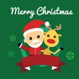 Иллюстрация милого Санта Клауса и северного оленя Стоковые Изображения RF