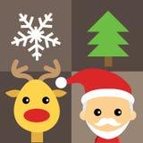 Иллюстрация милого Санта Клауса и северного оленя Стоковая Фотография