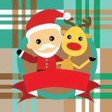 Иллюстрация милого Санта Клауса и северного оленя Стоковое фото RF